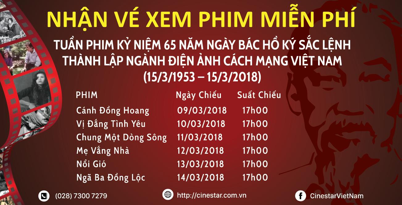Tuần phim kỷ niệm 60 năm Ngày thành lập ngành Điện ảnh Cách mạng Việt Nam 15/3/1953 – 15/3/2018